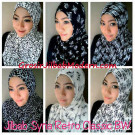 Jilbab Syria Retro Klasik Black & White Cantik & Modis