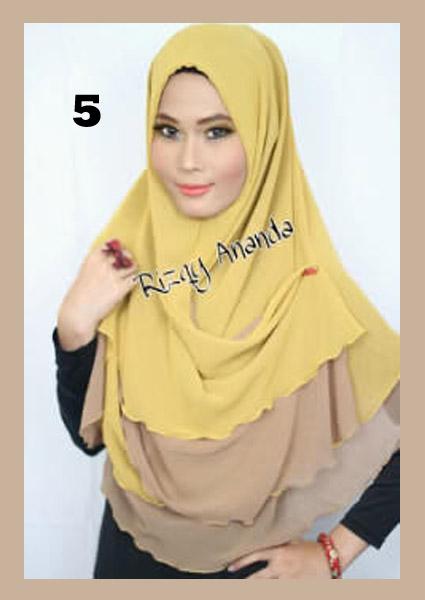 Jilbab Instant Khimar Alena Polos No 5 Kuning Kunyit