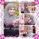 Jilbab Syria Exclusive Black and White Cantik Original By Apple Hijab Brand